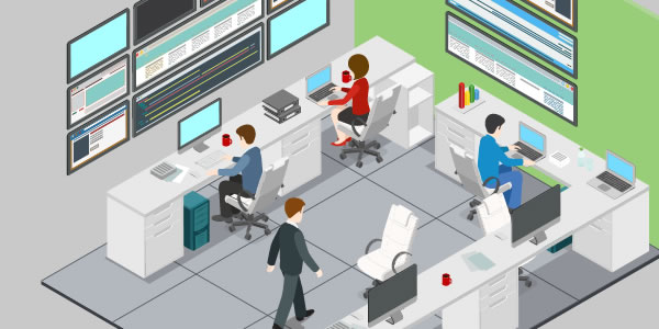 This is a picture used to display REACT Services, by B-LOGIC. It's a work office, filled with employees hard at work.